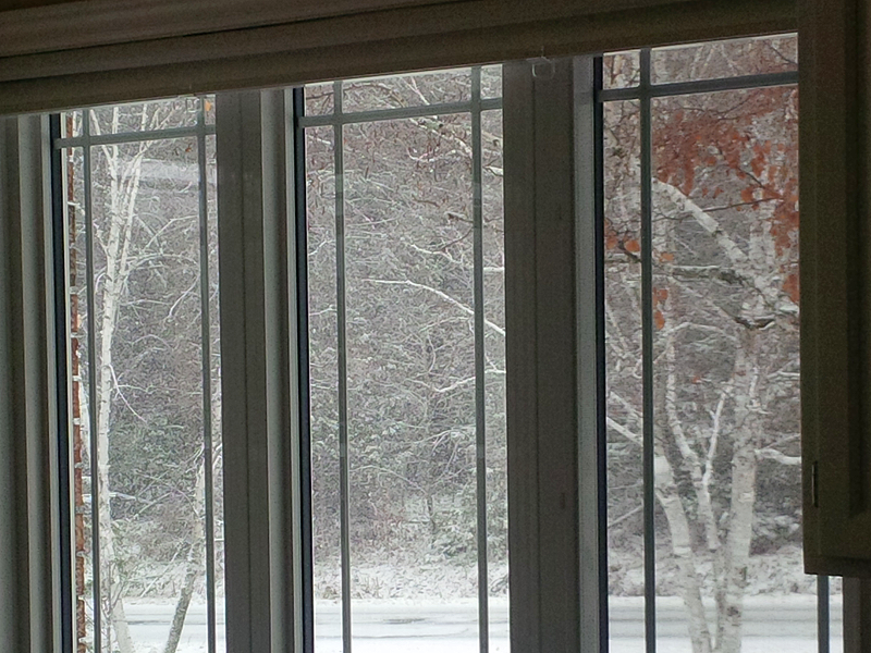 photo of vinyl casement window in winter